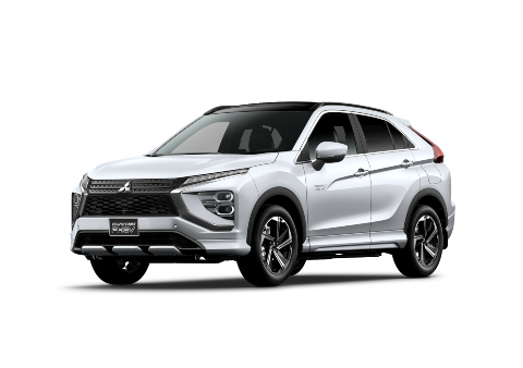 A front and side view of a white Mitsubishi Eclipse Cross PHEV