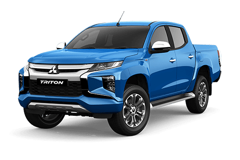 A Triton double cab VRX in Impulse blue with white background