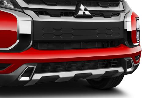 A close-up shot of front bumper under garnish on a red Mitsubishi ASX
