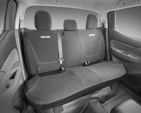 The neoprene rear seat covers available for double cab Triton models