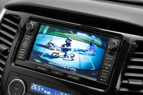 The screen from the in dash reverse camera kit for Triton UTEs