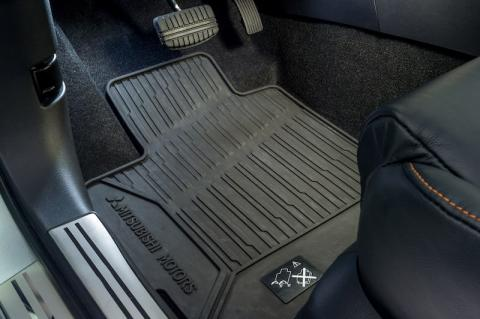 Interior shot of the front rubber mat sets available for the Eclipse Cross