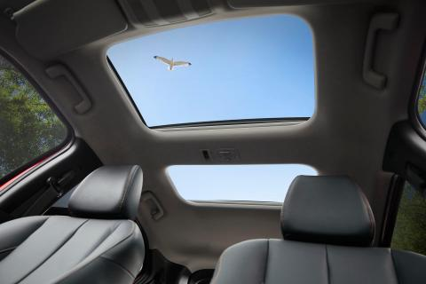 A seagull flying over the Mitsubishi Eclipse Cross's sunroof