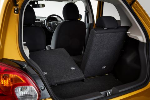 Mitsubishi Mirage Boot opened with one of the back seat down and one seat up