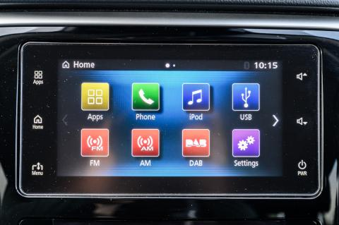 A close up shot of the touch LCD monitor in the dash of a Triton L200 ute